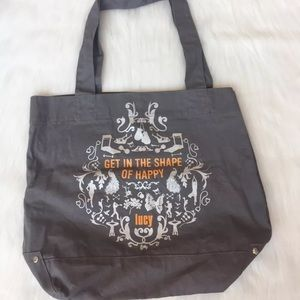 Lucy Tote Gray The Shape of Happy Yoga Gym Bag